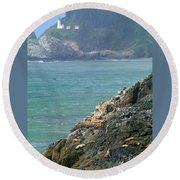 Light House And Sea Lions Round Beach Towel