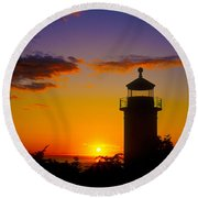 Light House At Fort Casey Washington Round Beach Towel