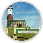 Light House At Montauk Point Round Beach Towel