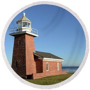 Light House At Santa Cruz Round Beach Towel