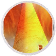 Light House At Sunset, Cape May, Nj Round Beach Towel