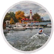 Light House Mississauga Round Beach Towel
