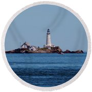 Light House On The Rocks Round Beach Towel