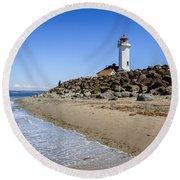 Light House - Port Townsend, Wa Round Beach Towel