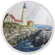 Light House Round Beach Towel