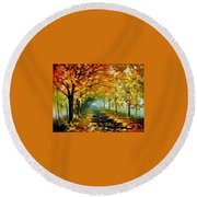 Light In The Fog Round Beach Towel