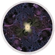 Light In The Fractal Night Round Beach Towel
