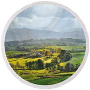 Light In The Valley At Rhug. Round Beach Towel