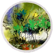 Light In Trees Round Beach Towel
