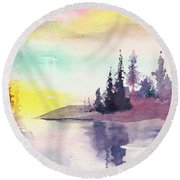 Light N River Round Beach Towel