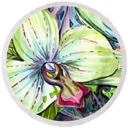 Light Of Orchids Round Beach Towel