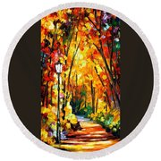 Light Of The Forest - Palette Knife Oil Painting On Canvas By Leonid Afremov Round Beach Towel
