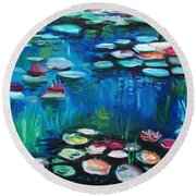 Light Of The Lillies Round Beach Towel