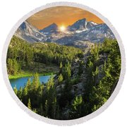 Light On Mack Lake Round Beach Towel