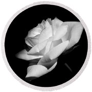 Light On Rose Black And White Round Beach Towel