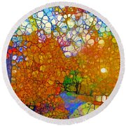 Light On The Autumn Path Round Beach Towel