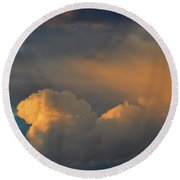 Light On The Clouds  Round Beach Towel