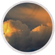 Light On The Clouds Two  Round Beach Towel