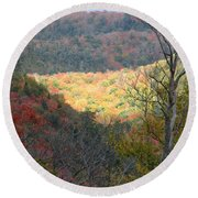 Light On The Valley Round Beach Towel