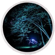 Light Painted Arched Tree  Round Beach Towel