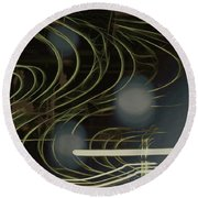 Light Painting Energy Round Beach Towel