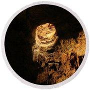 Light Peeks Through - Cave Round Beach Towel