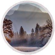Light Rays In Yosemite Ground Fog Round Beach Towel
