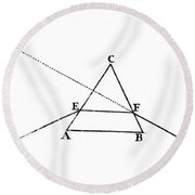 Light Refracting At Prism, Isaac Round Beach Towel