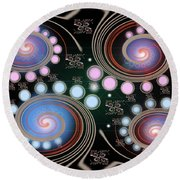 Light Rotate On Spiral Orbit Round Beach Towel