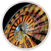 Light Streaks From The Spinning Ferris Wheel And Swing At Night  Round Beach Towel
