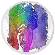 Light The Path Cool Rainbow 3 Dimensional Round Beach Towel