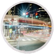 Light Trails On 17th And Market Round Beach Towel