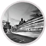 Light Trails On O'connell Street At Night - Dublin Round Beach Towel by Barry O Carroll