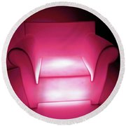 Lighted Chair 3 Round Beach Towel