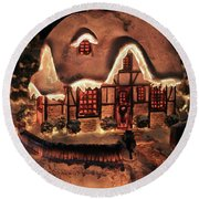 Lighted Christmas House  Round Beach Towel