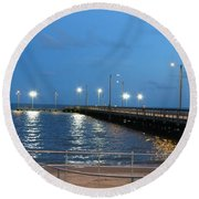 Lighted Pier Round Beach Towel