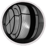 Lighted Wall In Black And White Round Beach Towel
