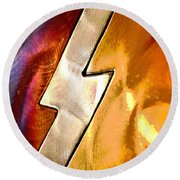 Lightening Bolt Abstract Posterized Round Beach Towel