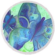 Lighthearted In Blue Round Beach Towel