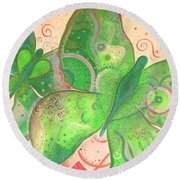 Lighthearted In Green On Red Round Beach Towel