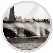 Lighthouse 1 Round Beach Towel