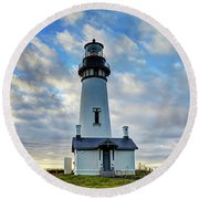 Lighthouse And Clouds Round Beach Towel