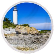 Lighthouse And Rocks Round Beach Towel