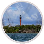 Lighthouse At Anclote Key Round Beach Towel