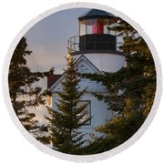 Lighthouse At Bass Harbor Round Beach Towel