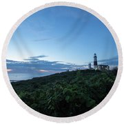 Lighthouse At Blue Hour Round Beach Towel