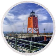 Lighthouse At Charlevoix South Pier  Round Beach Towel