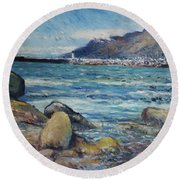 Lighthouse At Kalk Bay Cape Town South Africa 2016 Round Beach Towel
