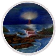 Lighthouse At Night Round Beach Towel