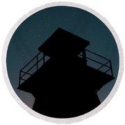 Lighthouse At Night Prince Edward Island Round Beach Towel